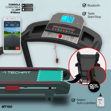 Poza Banda de alergare TECHFIT MT150, Putere Maxima 4CP, Greutate utilizator: 120KG, Suprafata de alergare 120 x 42cm